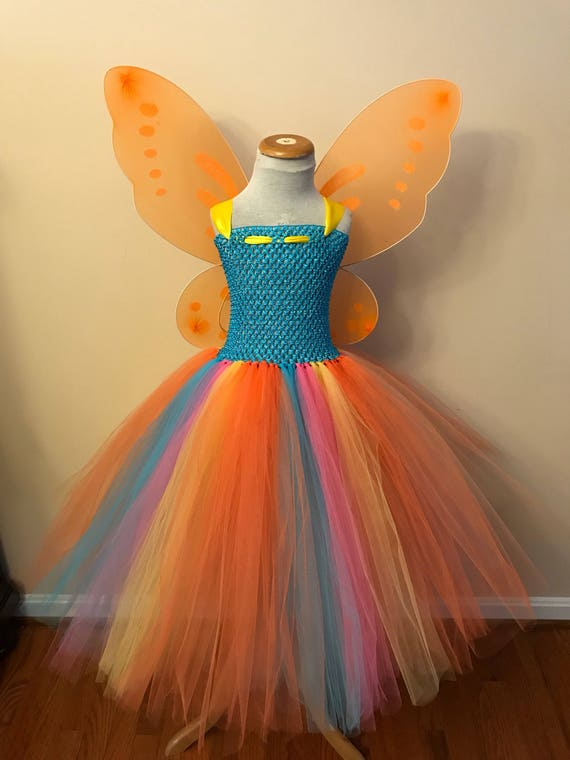 Affordable pastel rainbow butterfly tutu dress with wings Princess fairy butterfly costume size newborn to 14years