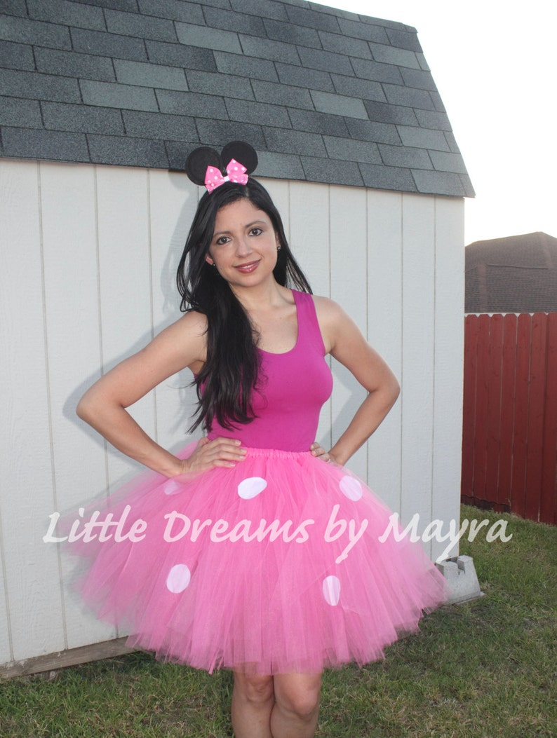03da59ef899e5 Adult minnie mouse inspired tutu skirt and ears headband, Adult minnie  mouse costume inspired, Adult pink tutu, Teenager tutu skirt