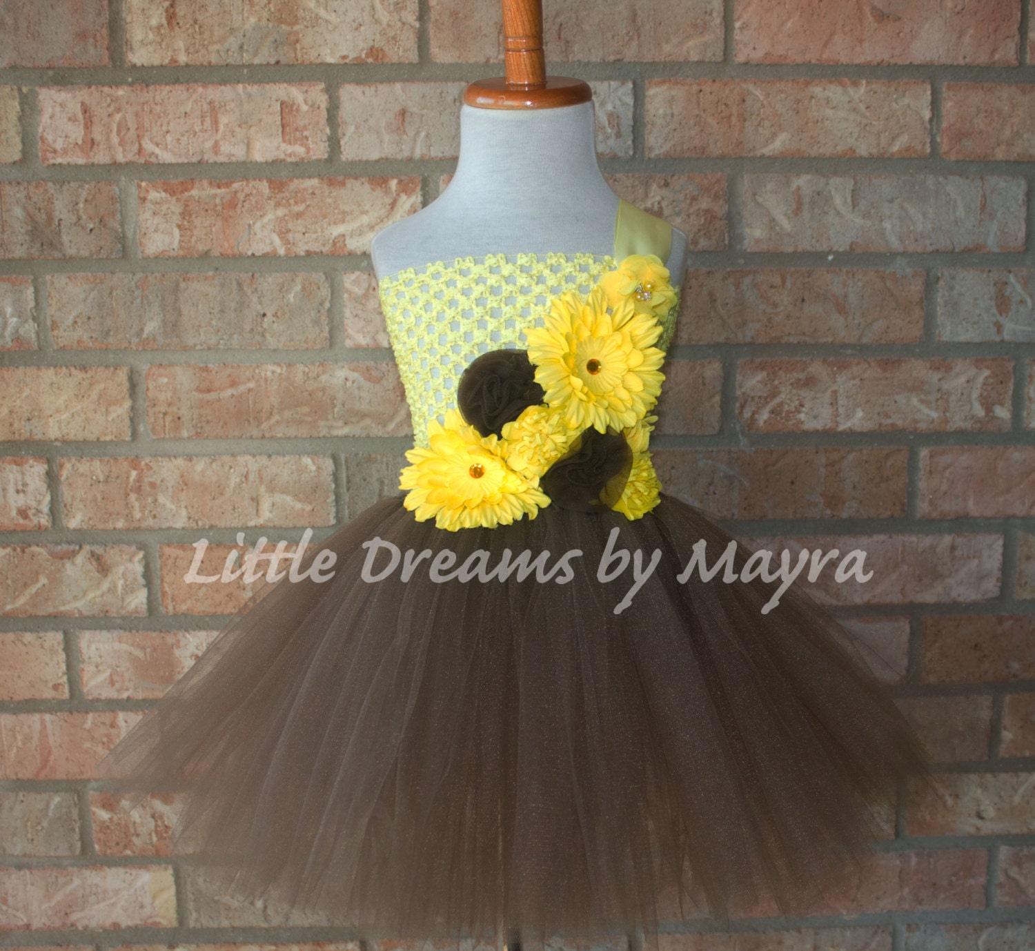 Yellow And Brown Flower Girl Tutu Dress And Matching Etsy