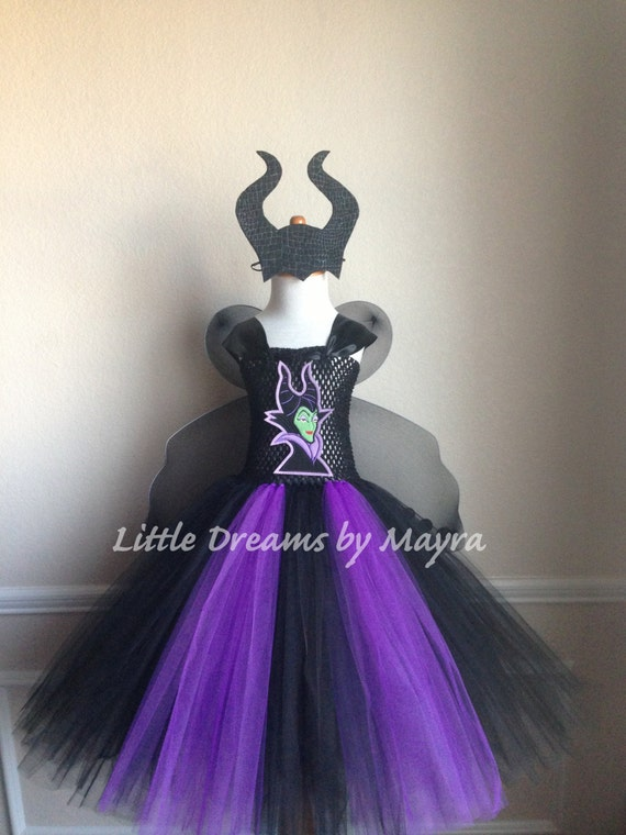 Sizes Nb To 14years Maleficent Inspired Tutu Dress With Horns And Wings Maleficent Inspired Birthday Outfit