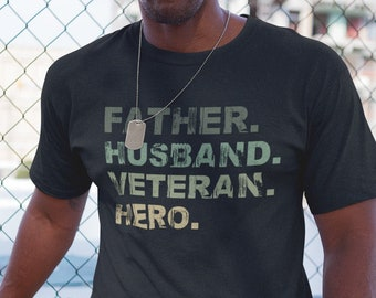 Father Husband Veteran T-shirt,  Father Veteran Gifts, Army Marine Air Force Navy Shirt, Dad Veteran T-shirt, Veteran Dad Gift | 316Tees
