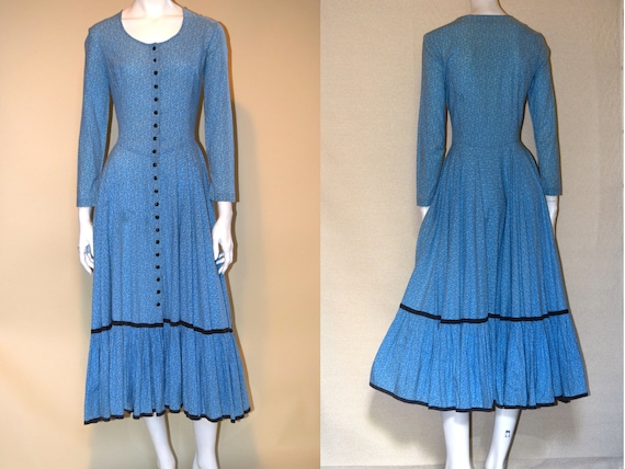 70s Betsey Johnson's Alley Cat Prairie Dress in Bl