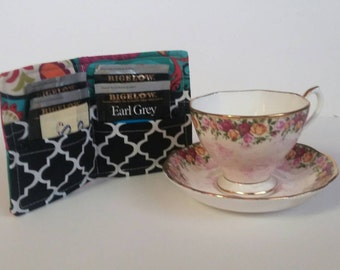 Coupon Orginizer,Tea Bag Wallet, Tea Wallet, Tea Bag Holder, Card Holder Wallet, Travel Tea Bag Holder, Tea Bag Case,  Paisley  Turquoise
