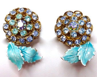 Rhinestone and Enamel Flower Turquoise Blue and Light Blue Earrings, Clip Back, 1950s Fabulous
