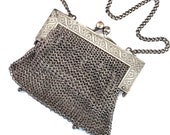 Vintage Silver Mesh Chain Link Purse, Antique German Mesh Bag, Engraved Frame and Leather Lining, 1900-1920