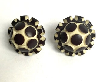 Black and White Celluloid Galalith Button Earrings 1930s