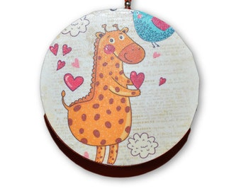 Orange Giraffe with Hearts Nursery Print Round Wood Fan / Light Pull