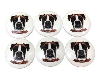 Set Of 6 Boxer Dog Print Cabinet Knobs