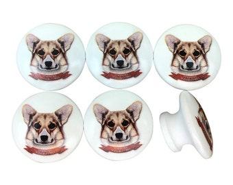 Etonnant Set Of 6 Pembroke Welsh Corgi Dog Print Cabinet Knobs