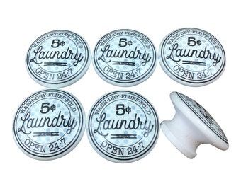Set of 6  5 Cent Laundry  Print Wood Cabinet Knobs