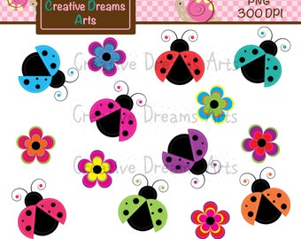 40% Off! Spring Lady Bug Clipart Instant Download
