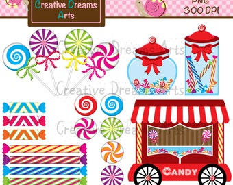40% Off! Red Candy Digital Clip Art Instant Download