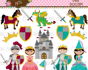 40% Off! Knight Princess Digital Clipart Instant Download