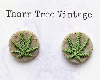 Stone Weed Leaf Round Stud Earrings | Handmade Polymer Clay Stoner Jewelry | Marijuana Cannabis Hemp Pot Leaf