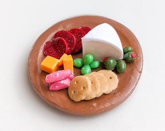 Charcuterie Board Fridge Magnet | Polymer Clay | Charcuterie Meat and Cheese Plate Food Magnets | Handmade Gifts | Refrigerator Magnet