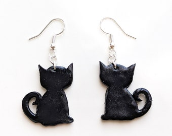 Black Cat Dangle Polymer Clay Earrings | Cat Lady Jewelry | Witch Vibes | Gothic | Halloween Gifts | Lightweight | Mother's Day Gifts