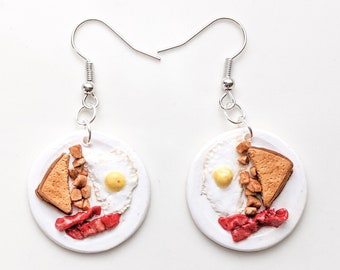 Breakfast Plate Dangle Polymer Clay Earrings | Bacon Egg Toast and Home Fries | Food Themed Earrings | Handmade Gifts and Jewelry | Quirky