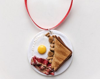 Breakfast Plate Christmas Ornament | Handcrafted Polymer Clay Eggs, Bacon, Toast Food Themed Holiday Tree Ornament | Christmas Gifts