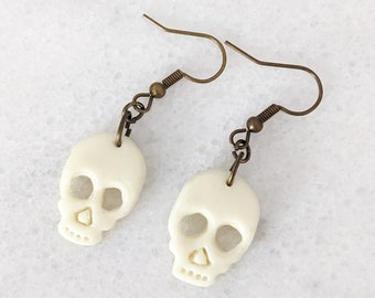 Glow-in-the-Dark Skull Dangle Earrings | Handmade Polymer Clay Jewelry | Halloween Gifts | Lightweight Unisex Earrings for Kids and Adults