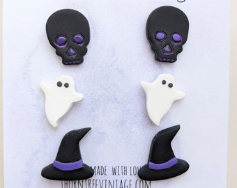 Spooky Stud Earrings 3 Pack | 3 Pairs of Handmade Polymer Clay Halloween Stud Earrings | Skull, Ghost, and Witch Hat