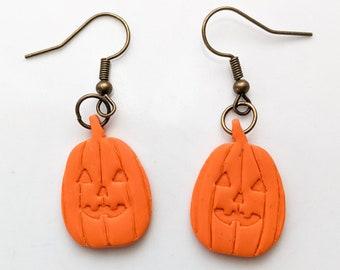 Jack-O-Lantern Dangle Earrings | Handmade Polymer Clay Jewelry | Cute Orange Pumpkin Earrings | Halloween Gift Ideas
