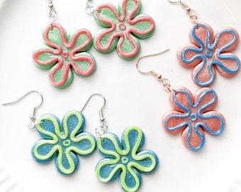 Bikini Bottom Flower Power Polymer Clay Earrings | Dangle Earrings | Nostalgic Cartoon Y2K Retro Hippie Flower Style Jewelry