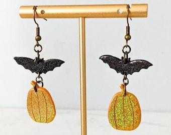 Halloween Holographic Glitter Dangle Earrings | Handmade Polymer Clay Jewelry | Black Bat Orange Pumpkin Earrings | Halloween Gift Ideas
