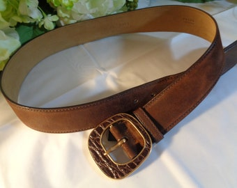 fac001405 Prada Made in Italy Brown Suede Leather Gold Tone Croc Pattern Buckle Belt  Size 34/85 (34 inches, 85 cm)