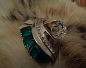Joseph Mazer Art Deco Gold Wash Ribbon Green Emerald White Rhinestones Brooch Scarf Hat Purse