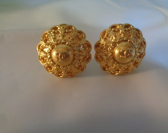 c359006af669 Authentic Chanel CC 22kt Gold Plate Clip on Earrings Wedding Prom