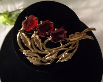 Little Nemo Signed Ruby Red Color Rhinestone Brass Brooch Pin Antique C Clasp