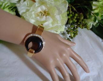 Panetta Signed Black Glass Onyx Rhinestones Gold Plated Bangle Cuff Bracelet with Safety Chain