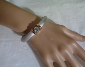 Bezel Set Swarovski Crystal Brushed Matte Silver Gold Trim Oval Shaped Hinged Bangle Bracelet Signed PCI