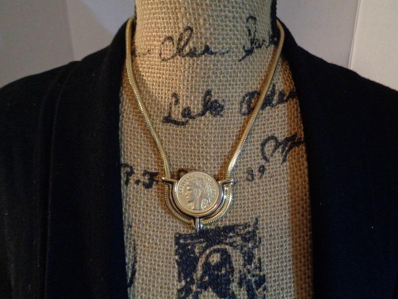 Goldplate Republique Francaise Coin Pendant Reverse Fleur De Lis Shield  on Thick Snake Chain Necklace Unisex