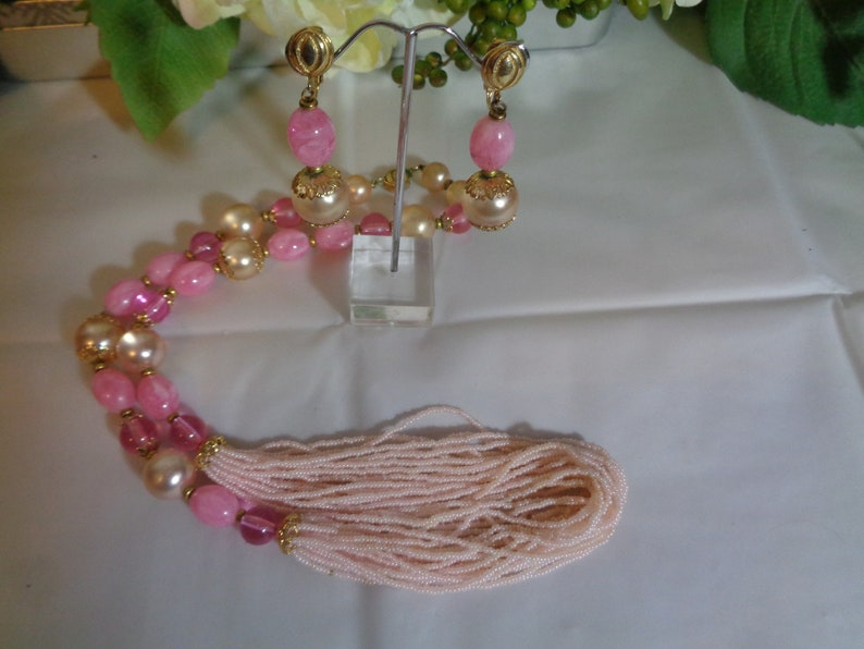 Alice Caviness Hot Pink Art Glass Gold Beads Pink Seed Beads Necklace Matching Clip on Earrings