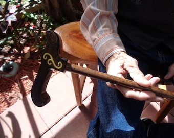 Dark Walnut Stain Gold Scroll Design Artisan Made Walking Cane and Cane Holder Attachment