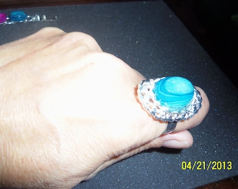 Blue  Druzy Drusy Silverplated Ring
