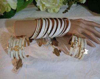 White Enamel Gold Metal Bangles Large Lot Destash Steam Punk Bracelets Sell Wear Arts & Crafts Project Jewelry Design