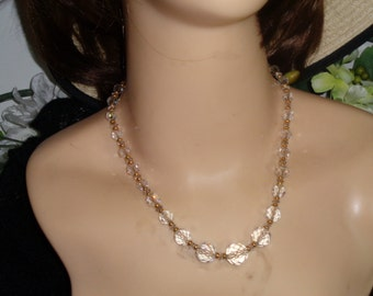 Graduated Crystal Glass Faceted Beads Gold Beads Strung on Gold Metal Chain Jewlerybybadabling