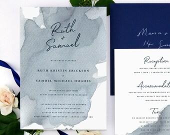 Romantic Nautical Wedding Invitation, Blue Watercolour Wedding Invite, Waterfront Wedding Stationery, Coastal wedding Invitation Set