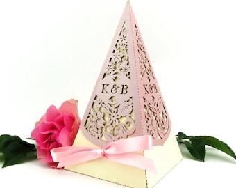 Vintage rose pyramid wedding favor box, Large laser cut favour box, Romantic summer wedding decor, Country garden wedding personalised favor