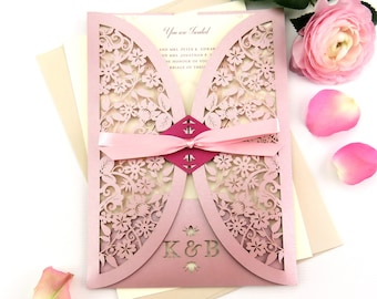 Vintage rose wedding invitations, Romantic wedding invitation, Country garden wedding stationery, blush invitation, Summer boho wedding
