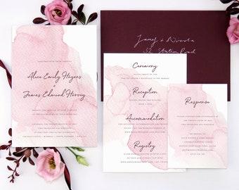 Soft pink wedding invitation, Watercolour invitation, Blush wedding stationery, Elegant wedding invite, Romantic invitation, Summer wedding