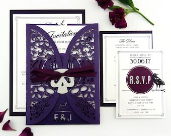 Alternative Gothic wedding invitation, Skull wedding suite, Halloween wedding stationery, Laser cut invite, Dark wedding, Purple wedding