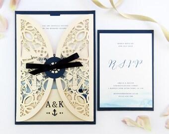 Nautical wedding invitation jacket, Laser cut wedding stationery - Nautical watercolour invite, Navy & blush invitation, Sailing wedding
