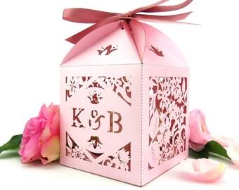 Vintage Rose cupcake box, Country garden wedding extra large favour box, Romantic wedding, Laser cut favour, Personalised cupcake box
