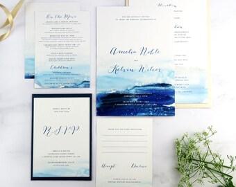 Nautical watercolour wedding invitation, Sailing wedding, Navy wedding stationery suite, Nautical wedding invitation, Blush wedding invite
