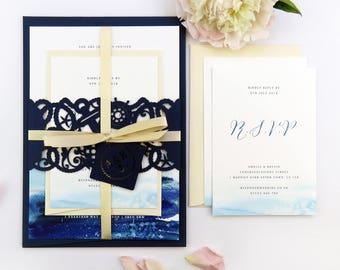 Nautical watercolour wedding invitation, Invitation belly band, Navy blush wedding stationery suite, Laser cut invitation, Sailing wedding