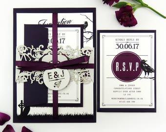 Wedding invitation band, Wedding stationery suite - Gothic skull laser cut wedding invitation, Alternative Halloween wedding, Purple wedding