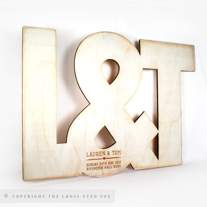 Wooden Initials Wedding Guest Book